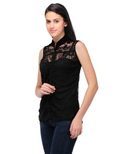 f57b014bbc8 Black Ladies Button Front Tunic Top, Angelic Threads | ID: 19318328291