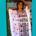 Black And White Embroidered Cotton Kaftan