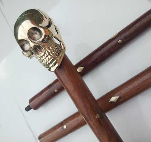 Vintage Style Brass Derby Head Handle Antique Wooden Cane Walking Stick Gift