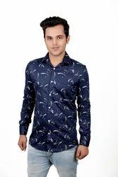 Men Vida Loca Satin Cotton Printed Blue Shirt