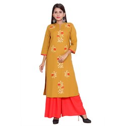 Yellow and Red Cotton Flex Kurti