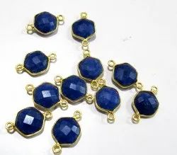 Set Of 6 Piece Blue Sapphire Hexagon Shape Briolette Bezel Connector Size 10mm