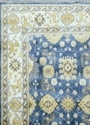 Hand Knotted Oushak Rug Geometric Carpet