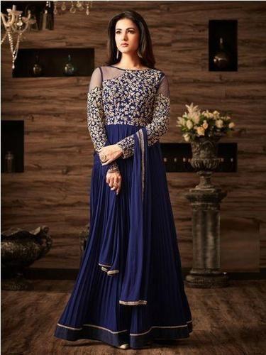bf6f3c745b Designer Faux Georgette Blue Festive Wear Anarkali Salwar Kameez at ...