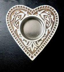 Wooden Block Heart Design Candle Holder