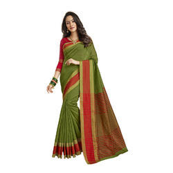 Green Color Chanderi Banarasi Cotton Weaving Sari With Blouse Piece
