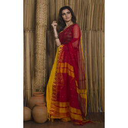 Pure Handloom Khadi Soft Cotton Saree With Sequin Work And Satin Border In Red And Yellow