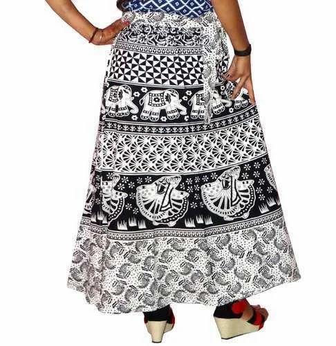 d561731ce4 Black & White Wrap Around Cotton Skirts, Rs 175 /piece, Jaipuri ...