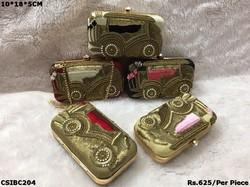 Car Design Embroidered Box Clutch