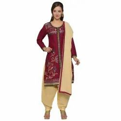 Maroon Colored Cotton Embroidery Unstitched Casual Wear Salwar Suit