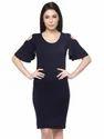 Casual Blue Cold Shoulder Dress