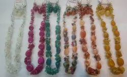 Natural Gemstone Necklace with Earings, For Jewellery