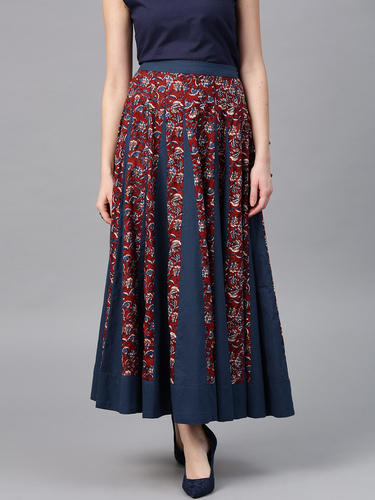 3ecd2f0bb Blue & Burgundy Color Printed Flared Long Skirt, Rs 553 /piece | ID ...