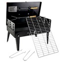 Briefcase Style Portable Charcoal BBQ Barbecue, With Chrome Grill & Cooking Tools