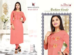 Women Rayon Straight Embroidery Kurti