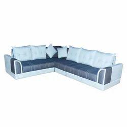 Wooden L Shape Leather Sofa