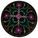 White Round Coffee Table Top Black Marble Inlay