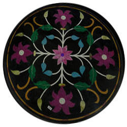 Round Coffee Table Top Black Marble Inlay