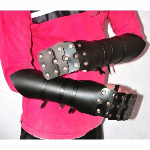 Leather Wrist Bracers, Size: S-XXL