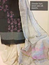 kalamalini Unstitched Chanderi Suit Printed, Handwash