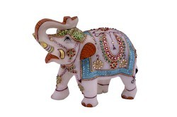 Marble Elephant with Jewellery Design on It