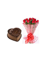 Chocolate Truffle And Bunch Of 14 Red Roses