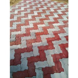 Grey Cement Zig Zag Tiles, For Landscape, Exterior, Thickness: 80 mm