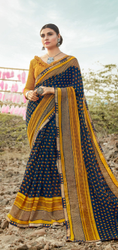 Casual Wear Yellow Printed Chiffon Sarees, With Blouse Piece