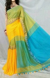 Party Wear Cotton Saree, 6 m (with blouse piece), Machine Made