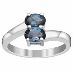 Stackable 1.00 Ctw London Blue Topaz Gemstone Bypass Women Ring 925 Silver