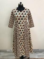 Mix Match Triangle Print Brown Colour Side Pleats Kurti