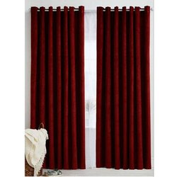 Cotton Long Crush Plain Curtain