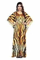Animal Printed Party Wear Free Size Long Kaftans Kurtas For Women