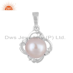 Natural Gray Pearl 925 Silver Designer Cz Pendants