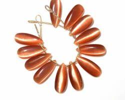 Peach Moonstone Cats Eye Quartz Pear Beads