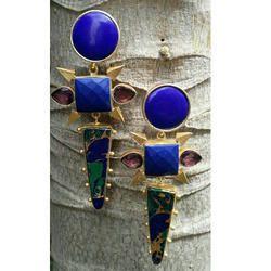 Gemstone Blue Statement Designer Earrings, Size: Regular