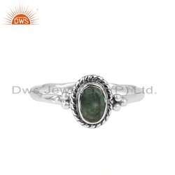 Emerald Gemstone Oxidized 925 Silver Ring
