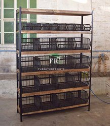 Contract Furniture - Industrial Reclaimed Wood Kitchen Island Cart With Multi Storage Facility