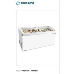 White Glass Top Deep Freezer, Capacity: 400 L
