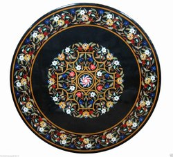 Round Pietra Dura Black Coffee Table Tops