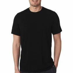 Black Plain Men's Cotton T Shirt