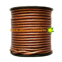 Copper Metallic Light Round Leather Cord
