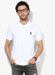 US Polo White Printed Polo Collar T-shirt