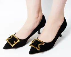 Dech Barrouci Party Wear Ikon Black Low Heels Ladies Sandal