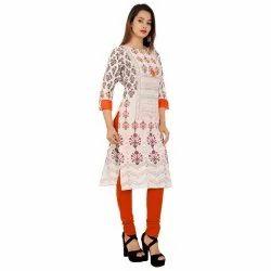 Ladies Printed White Cotton Kurti