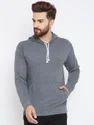 Men Full Sleeves Grey Sweatshirt