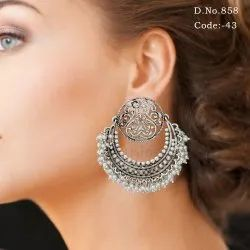 Silver Antique Chandbali Earring