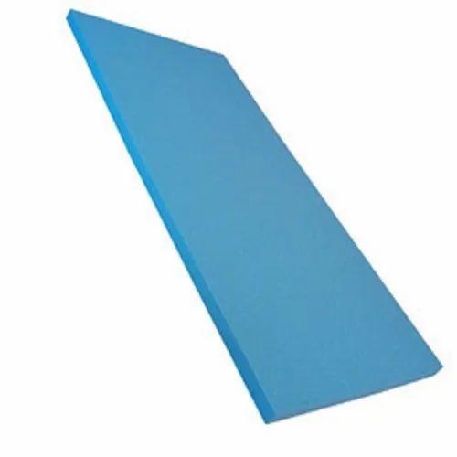 Blue Plain Rectangular Foam PCS Cushion