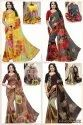 GEORGETTE SAREES WITH JACQUARD LACE