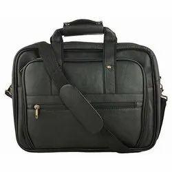 Black Plain Leather Laptop Bag